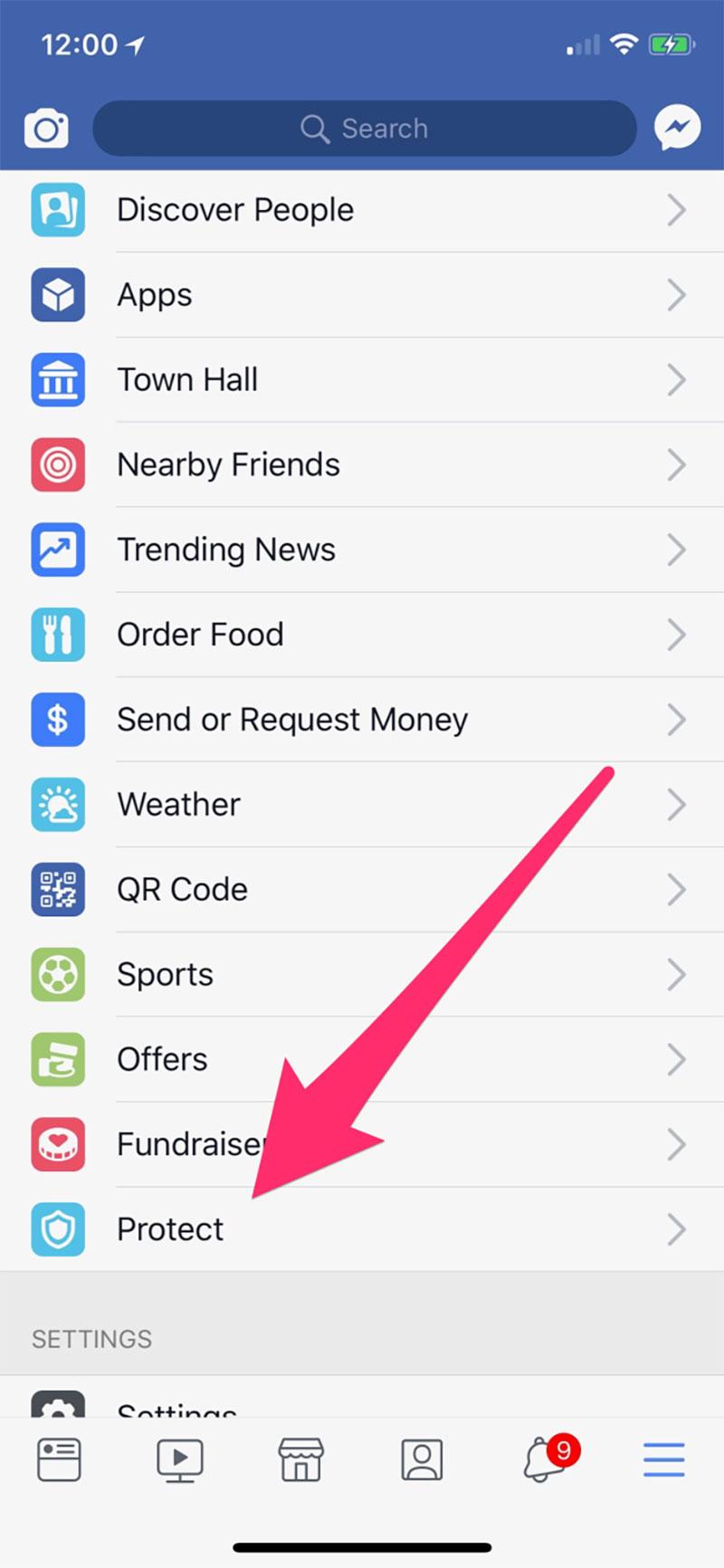 App de Onavo recomendada en la App de Facebook