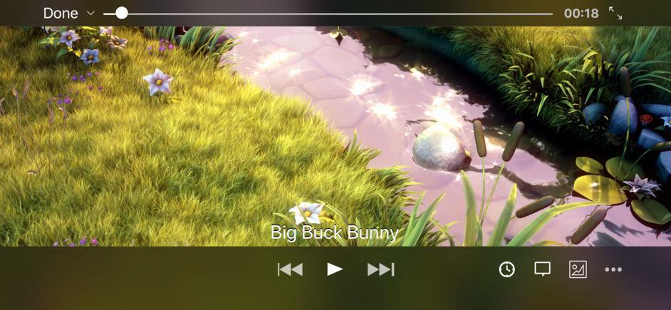 VLC para iOS™ reproduciendo un vídeo