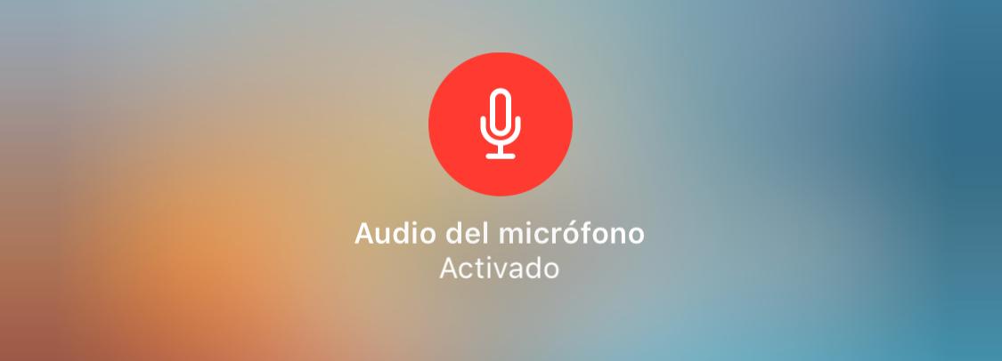 Micrófono activado durante la grabación de vídeo