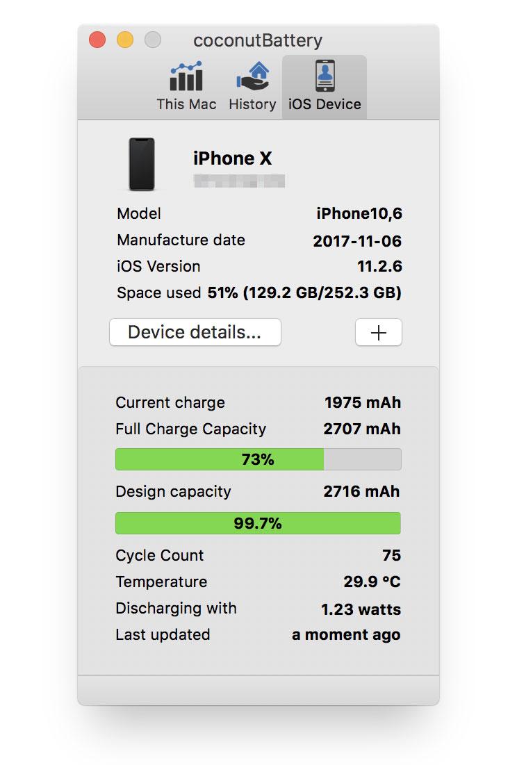 Coconutbattery da información sobre la batería de un iPhone X