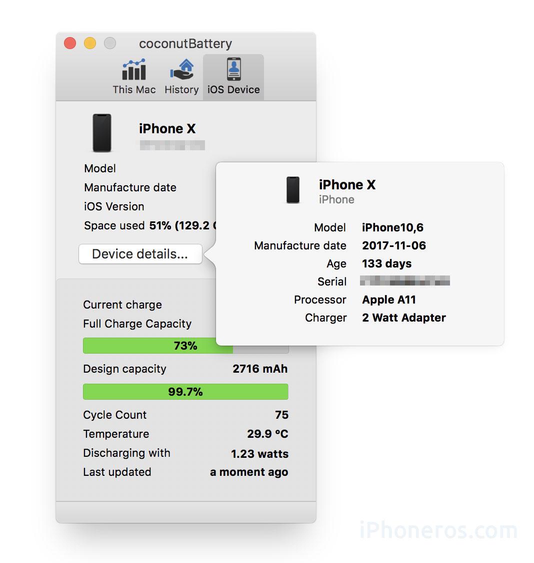 Información de la degradación de la batería de un iPhone
