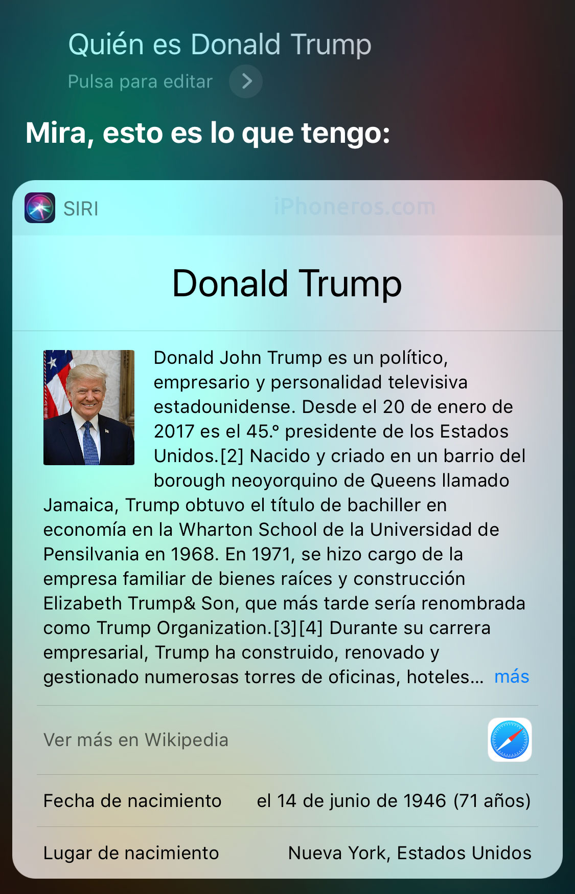 Siri sabe quién es Donald Trump