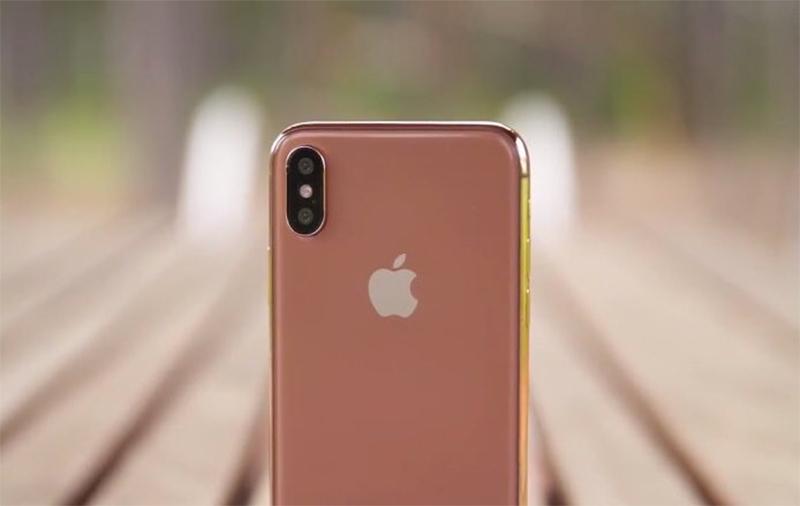 Concepto de diseño del hipotético iPhone X dorado