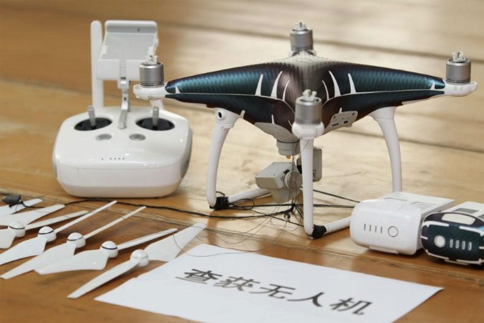 Dron utilizado por los detenidos para pasar iPhones de Hong Kong a China