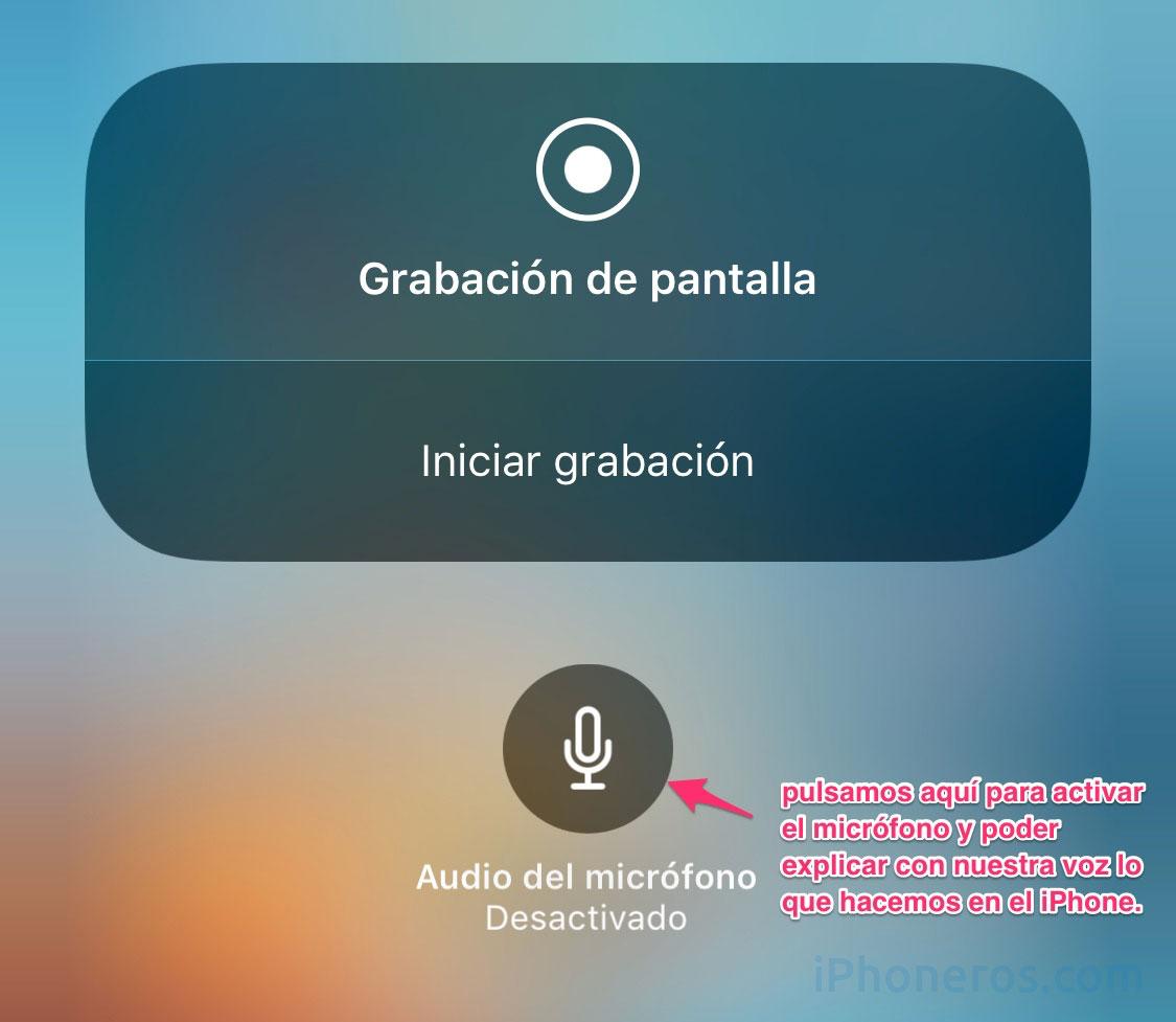 Grabación de pantalla con sonido en el iPhone
