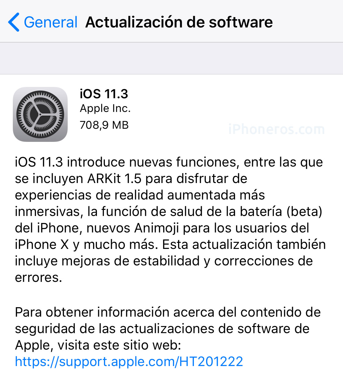 iOS 11.3 ya disponible