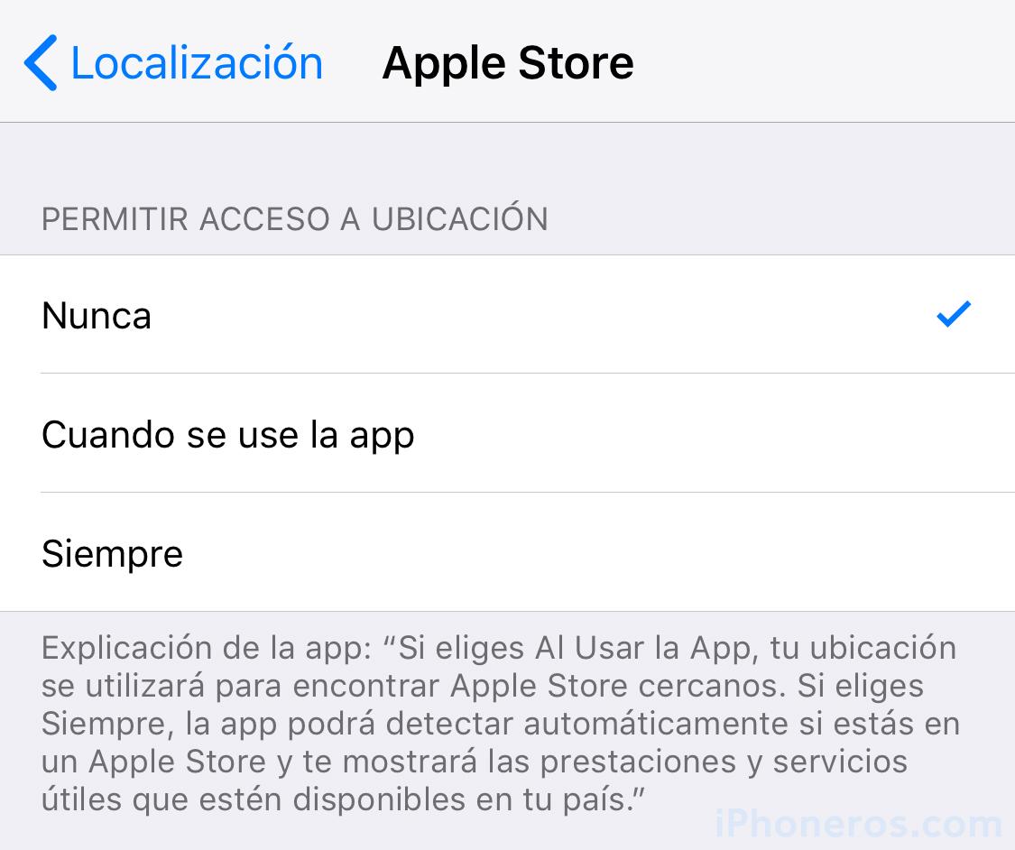 Permisos de localización para la App de la Apple Store
