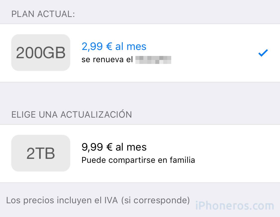 Precios de los planes de iCloud