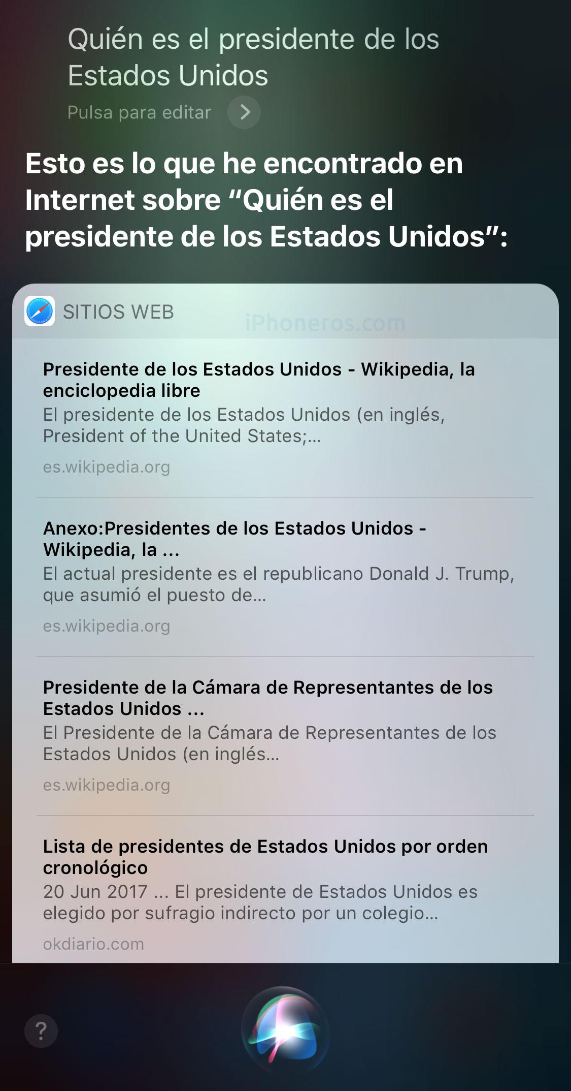 Siri no sabe responder quién es el presidente de EEUU