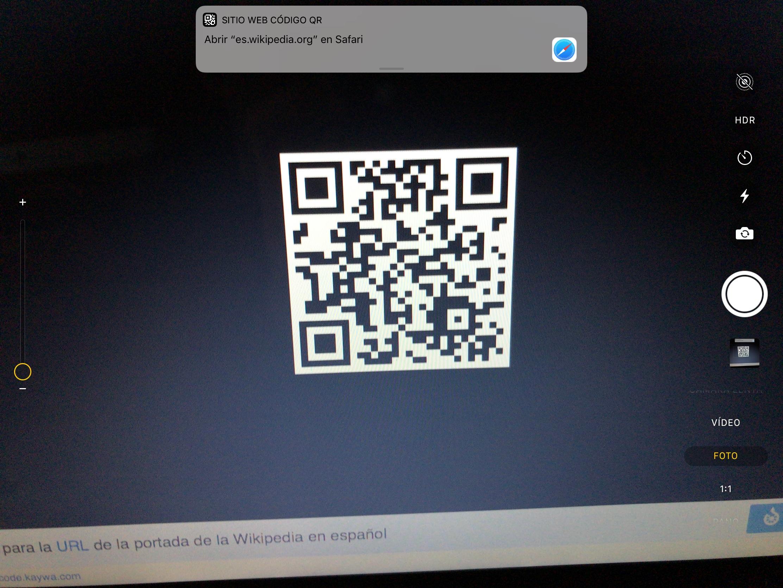 App de Cámara identificando un código QR