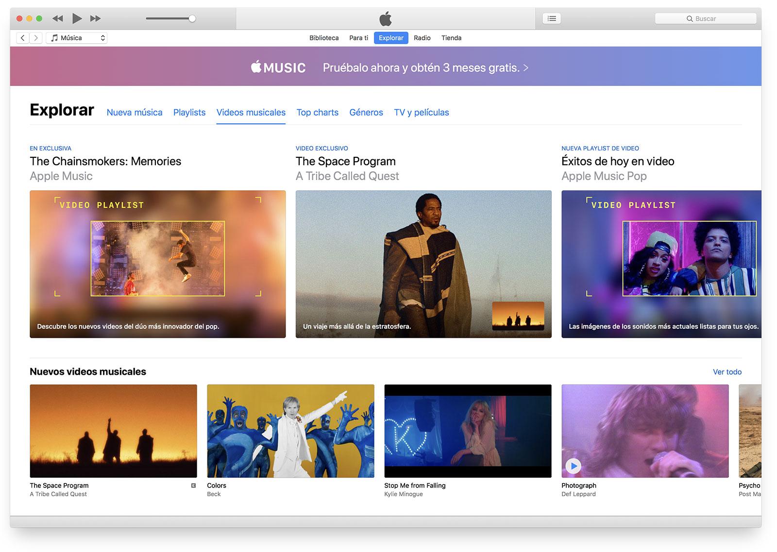 iTunes 12.7.4 con vídeos musicales
