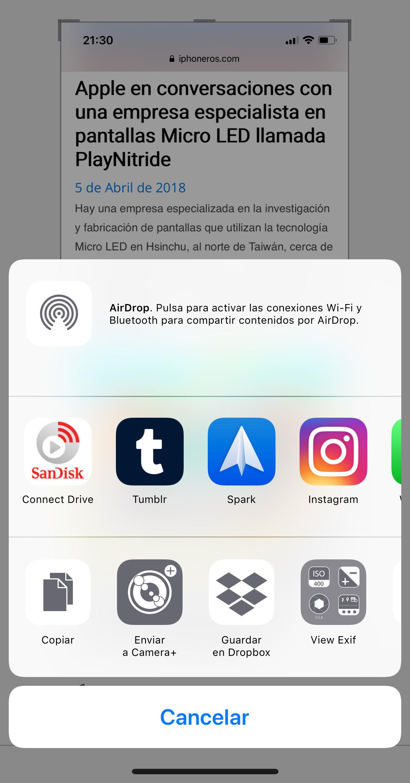 Compartiendo una captura de pantalla