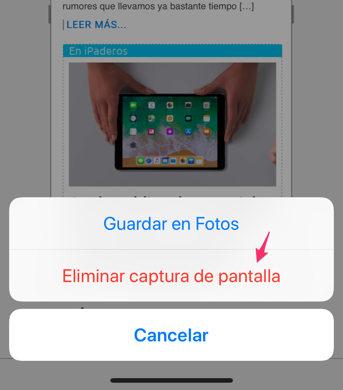 Eliminando una captura de pantalla