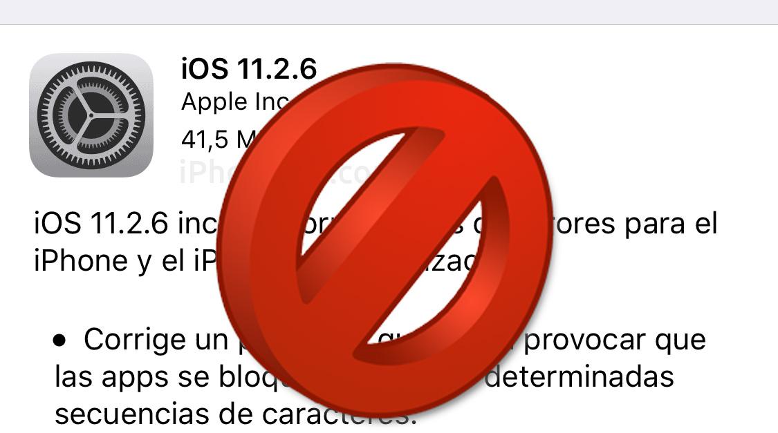 iOS 11.2.6 ya no se puede instalar