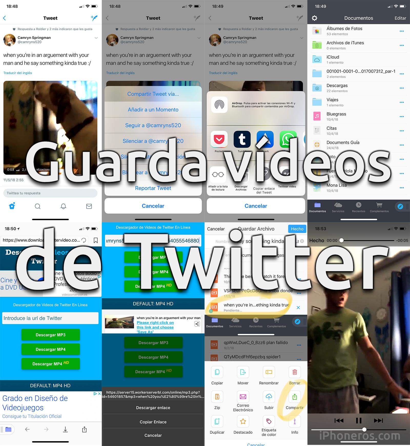Guardar vídeos de Twitter en el iPhone