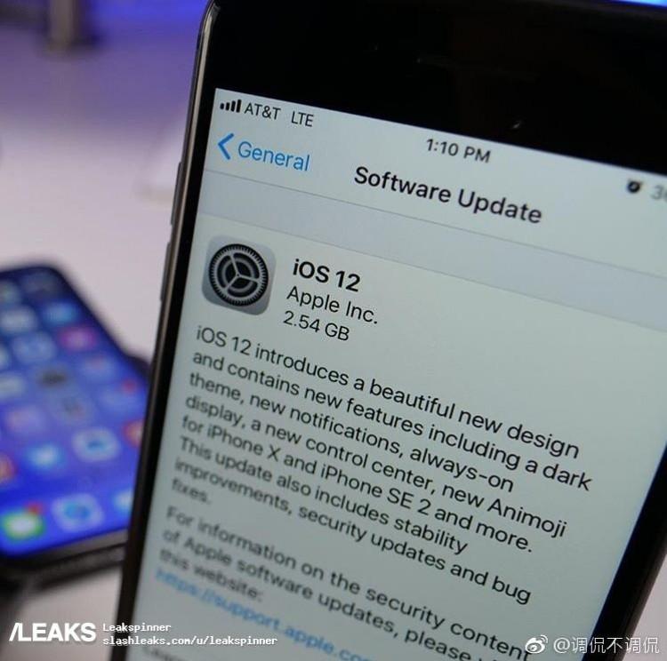 Supuesta version de iOS 12