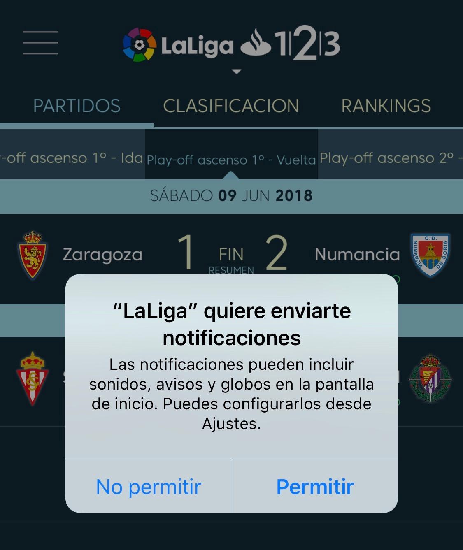 Permiso para enviar notificaciones de la App de La Liga