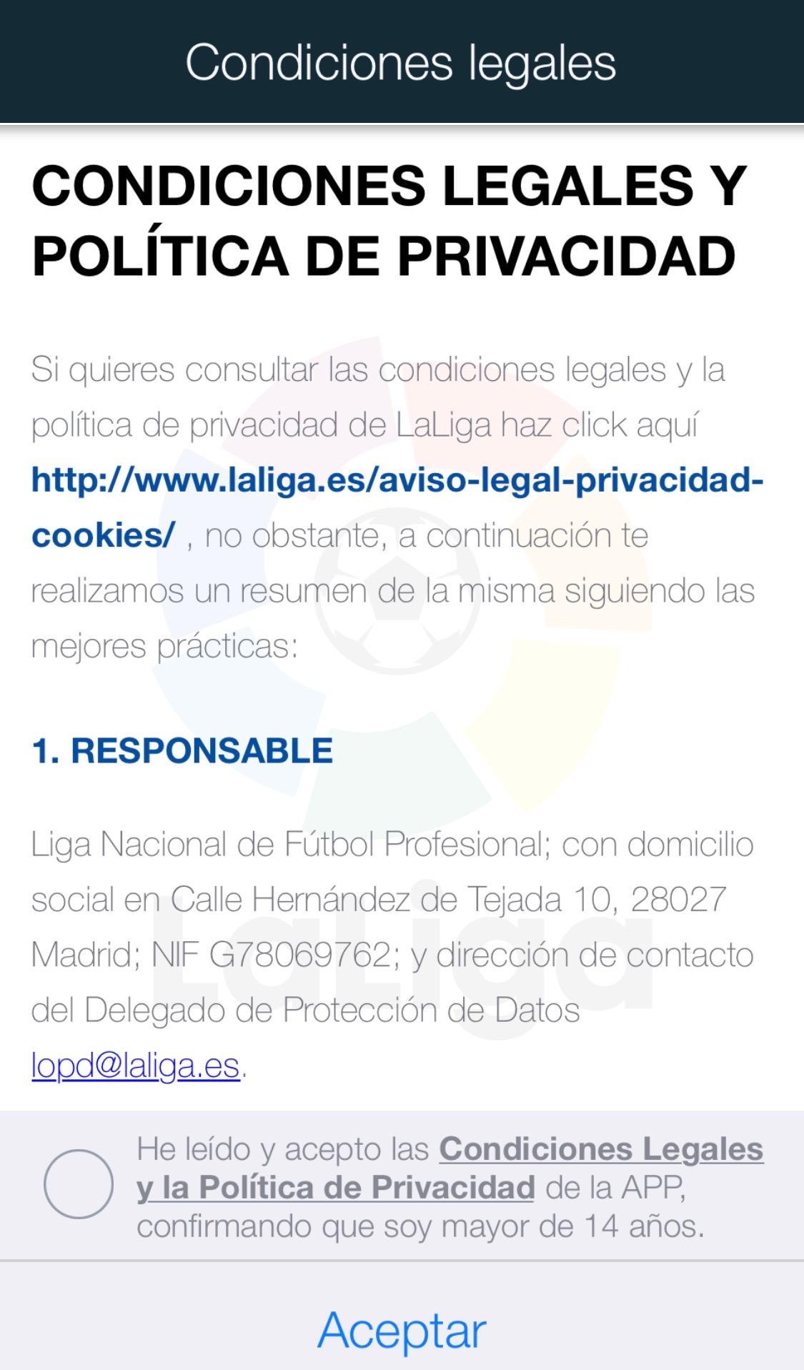 Condiciones legales de uso de La App de La Liga para iOS