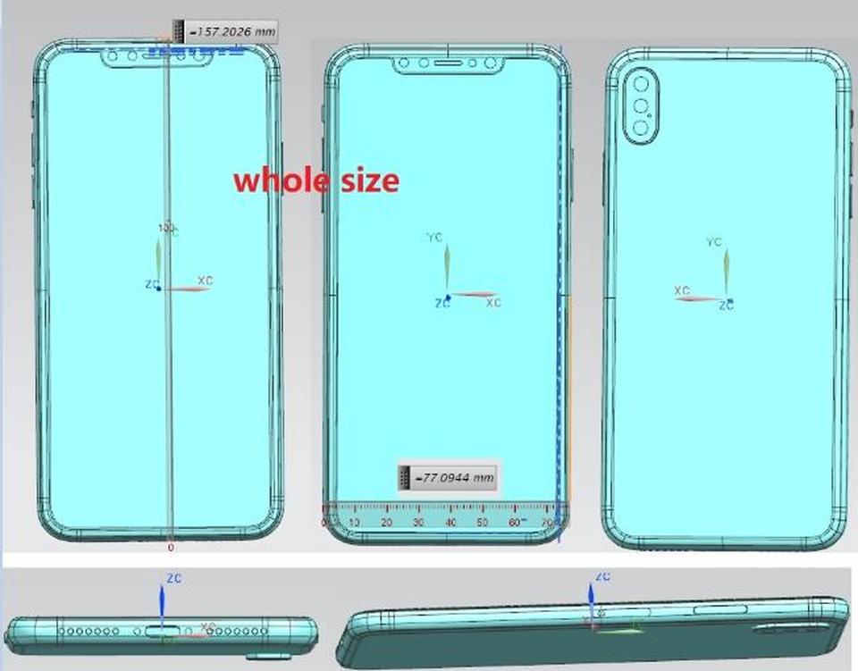 Esquema de Olixar del hipotético iPhone X Plus