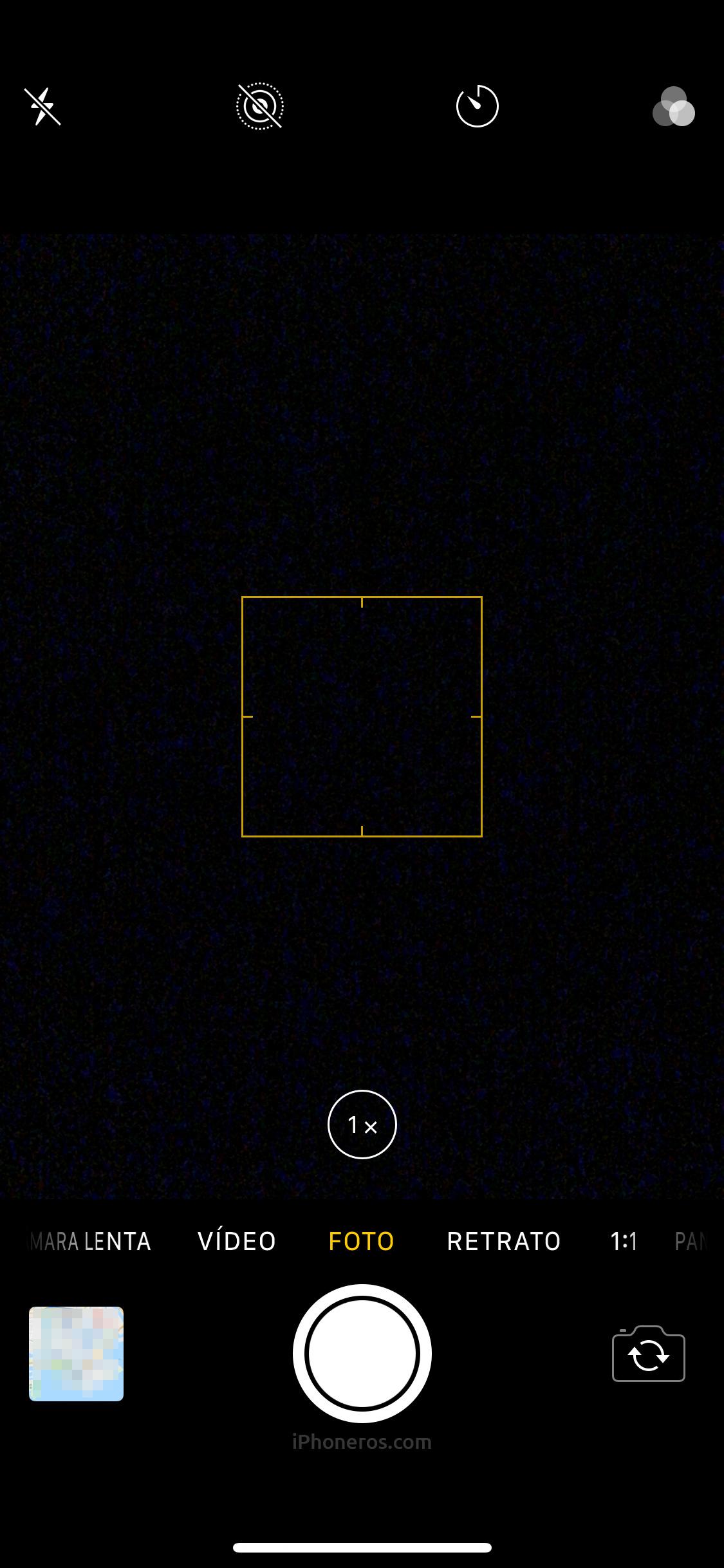 App de Cámara con imagen en negro