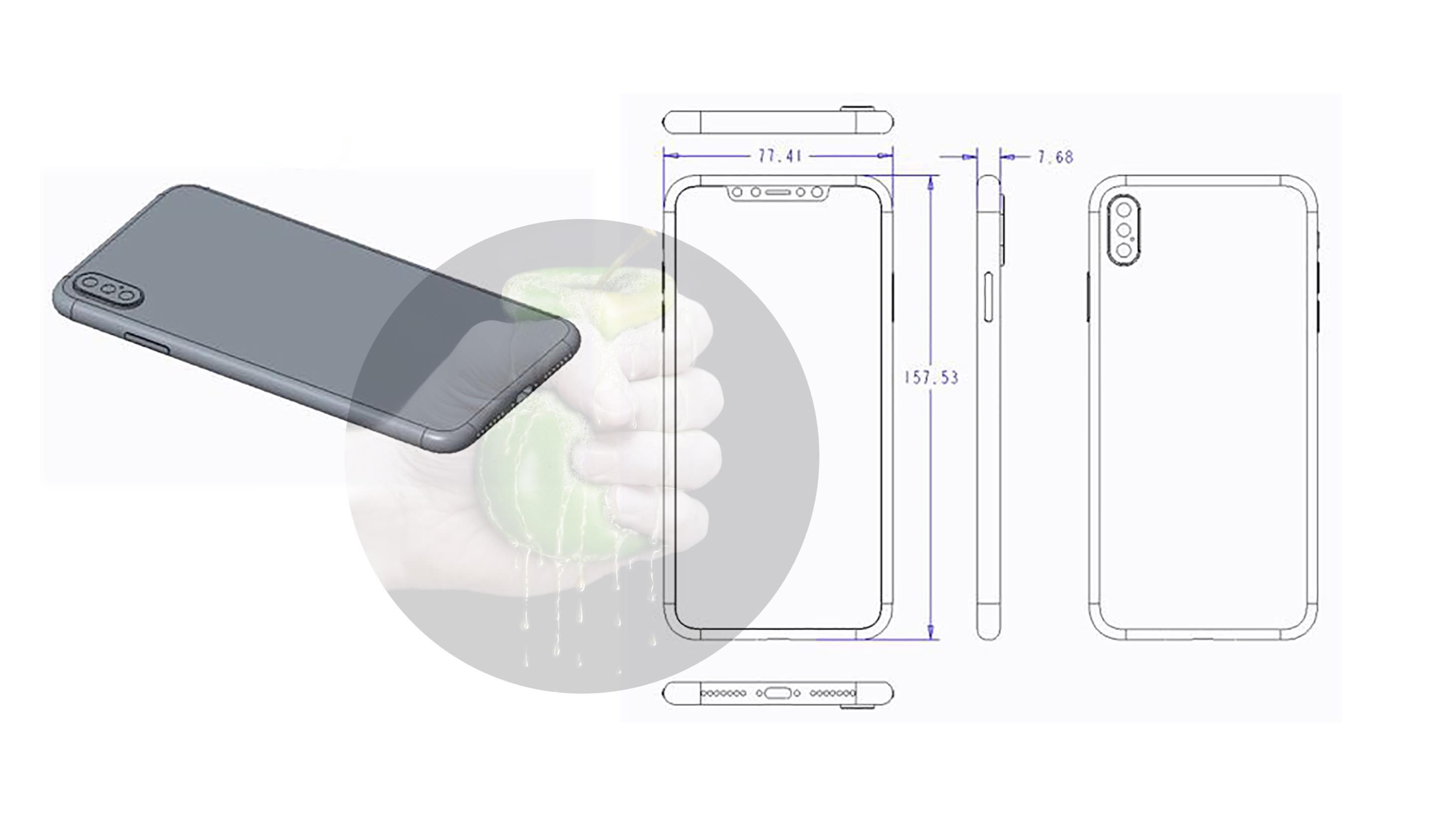 Esquema de un supuesto nuevo modelo de iPhone X