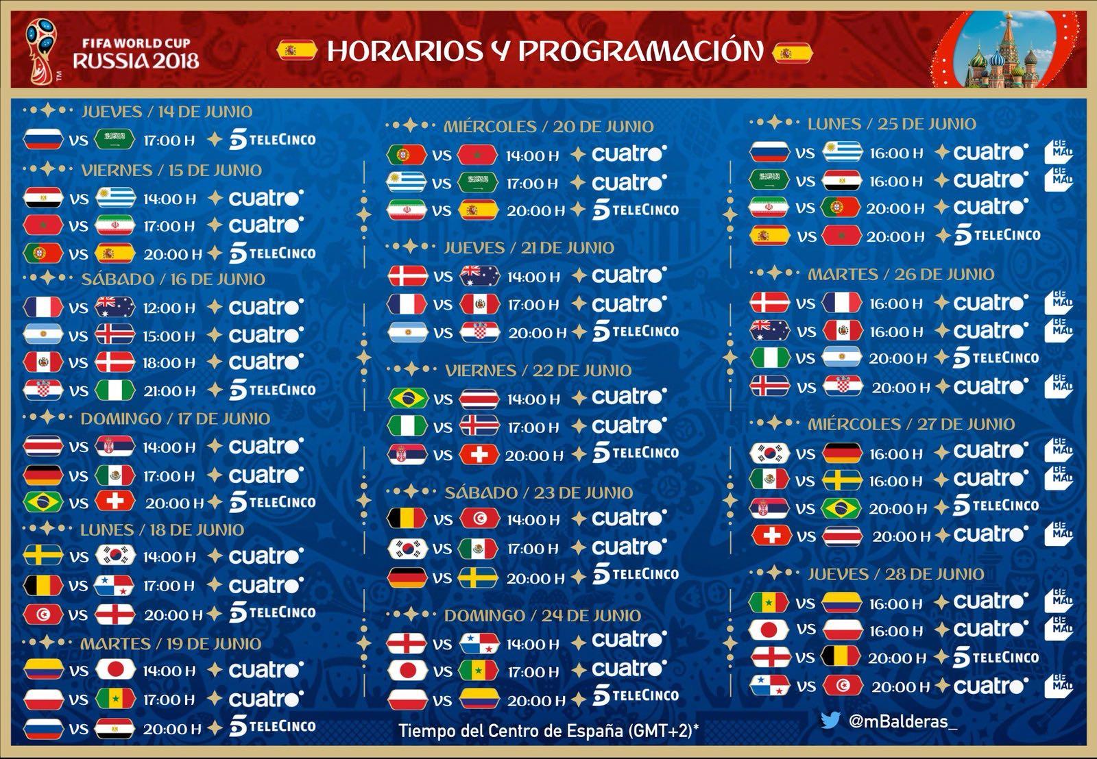Horarios y fechas de cada partido de fútbol del Mundial 2018 y sus emisiones en España