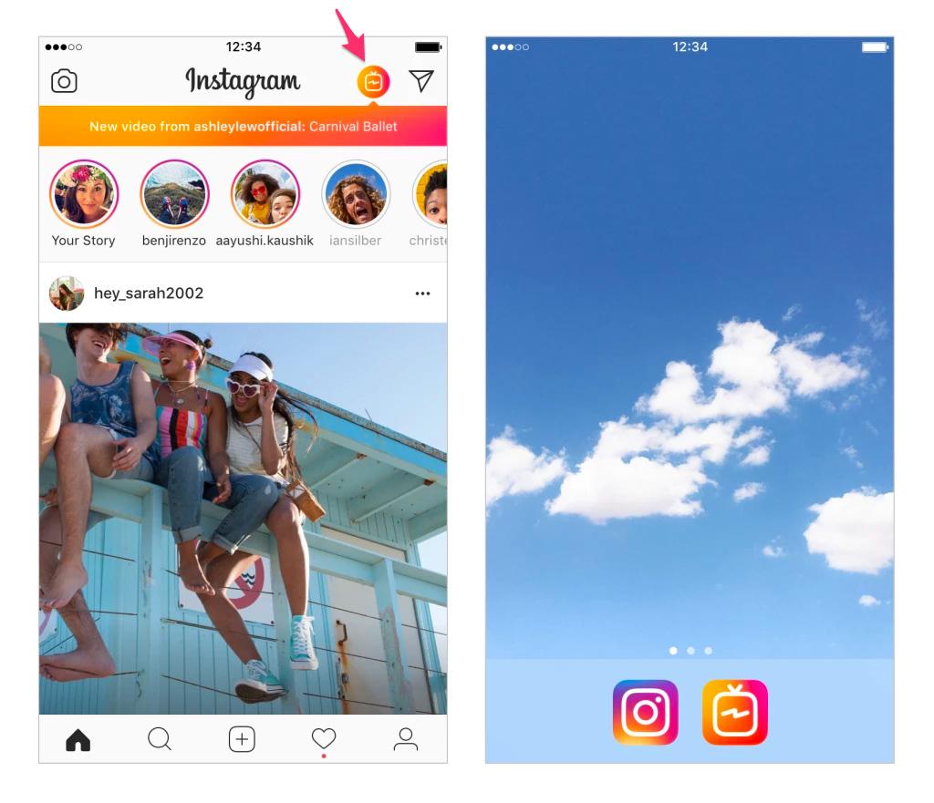 Icono de TV en Instagram para ir a IGTV