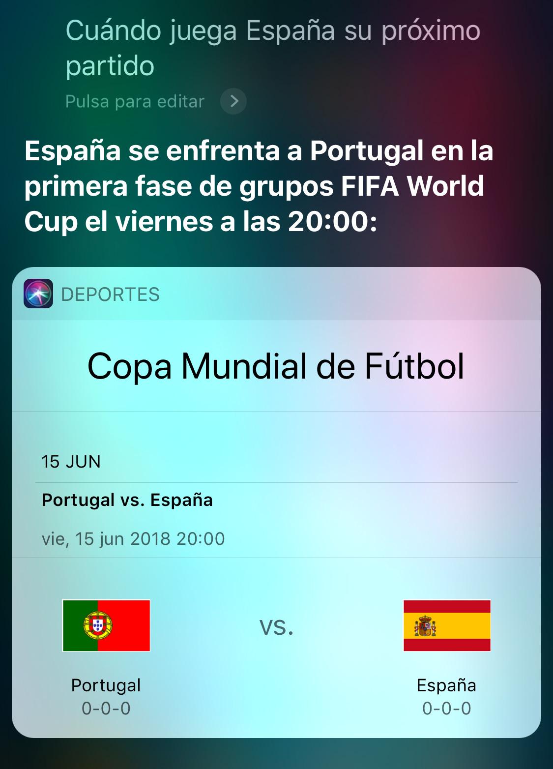 Preguntando a Siri por la Selección Española en el Mundial de fútbol