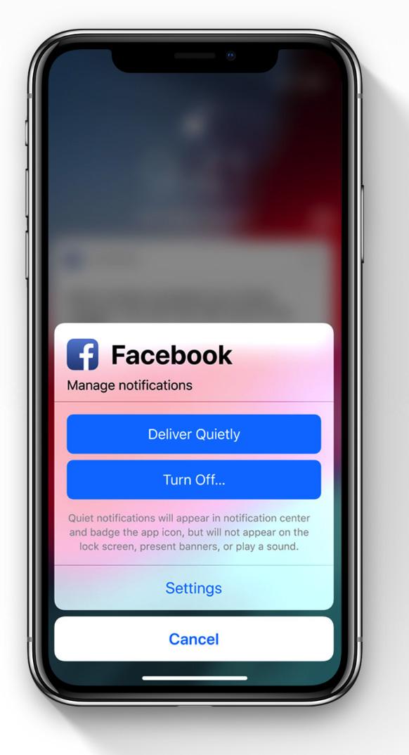 Notificaciones menos molestas por App en iOS 12