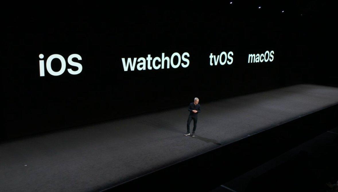 Tim Cook presentando actualizaciones de iOS, watchOS, tvOS y macOS