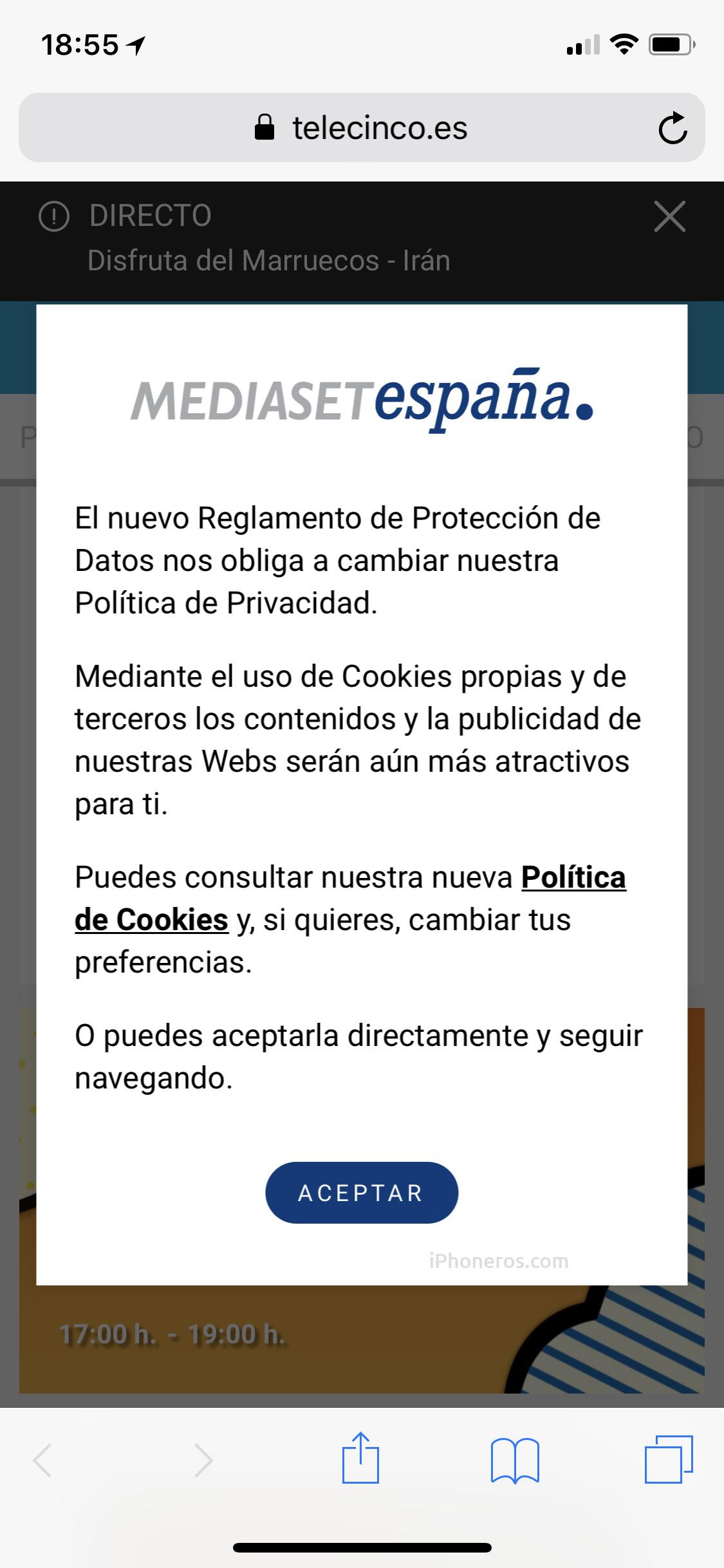 Aviso de privacidad de Telecinco
