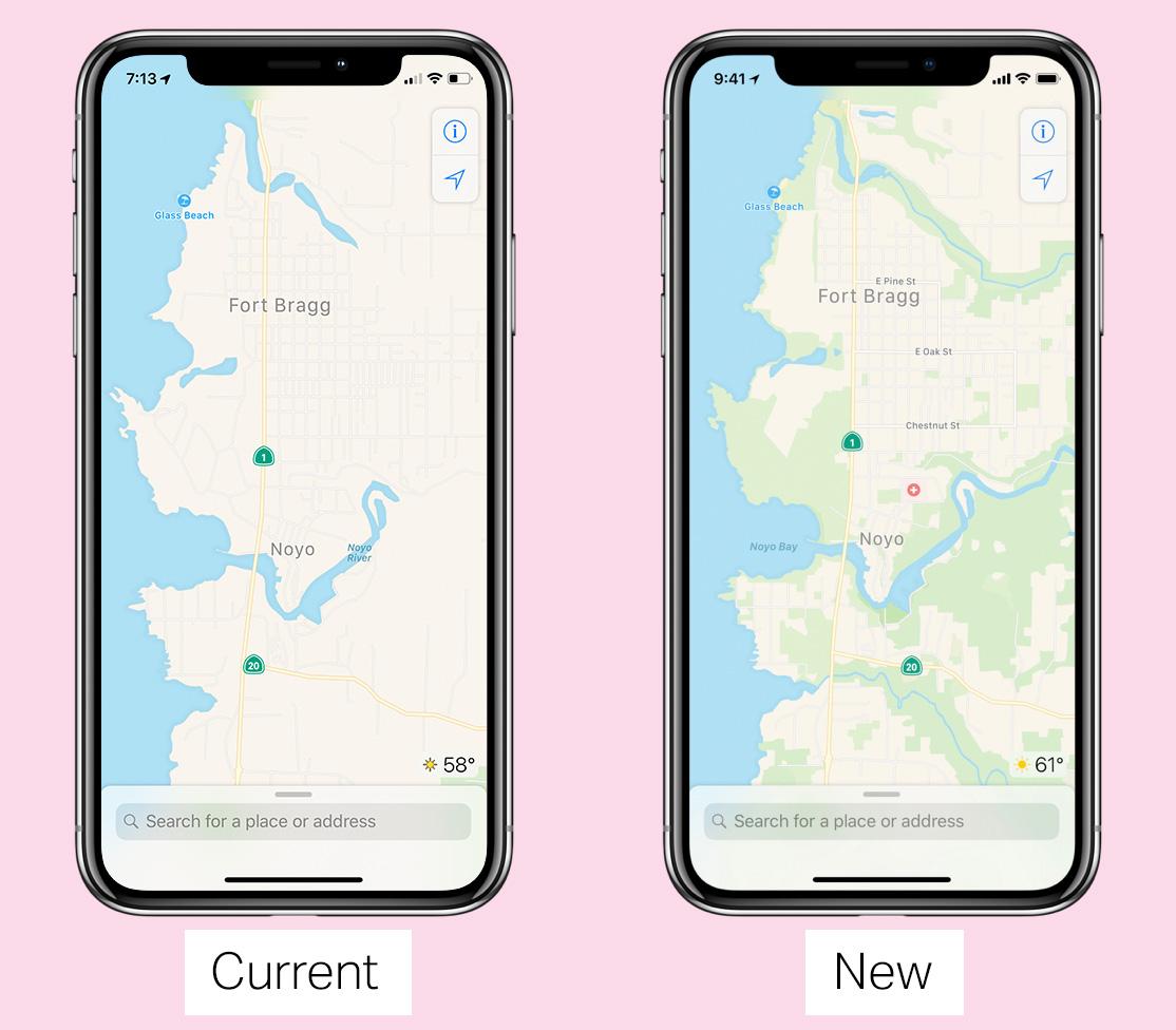 Antes y después en los mapas de Apple