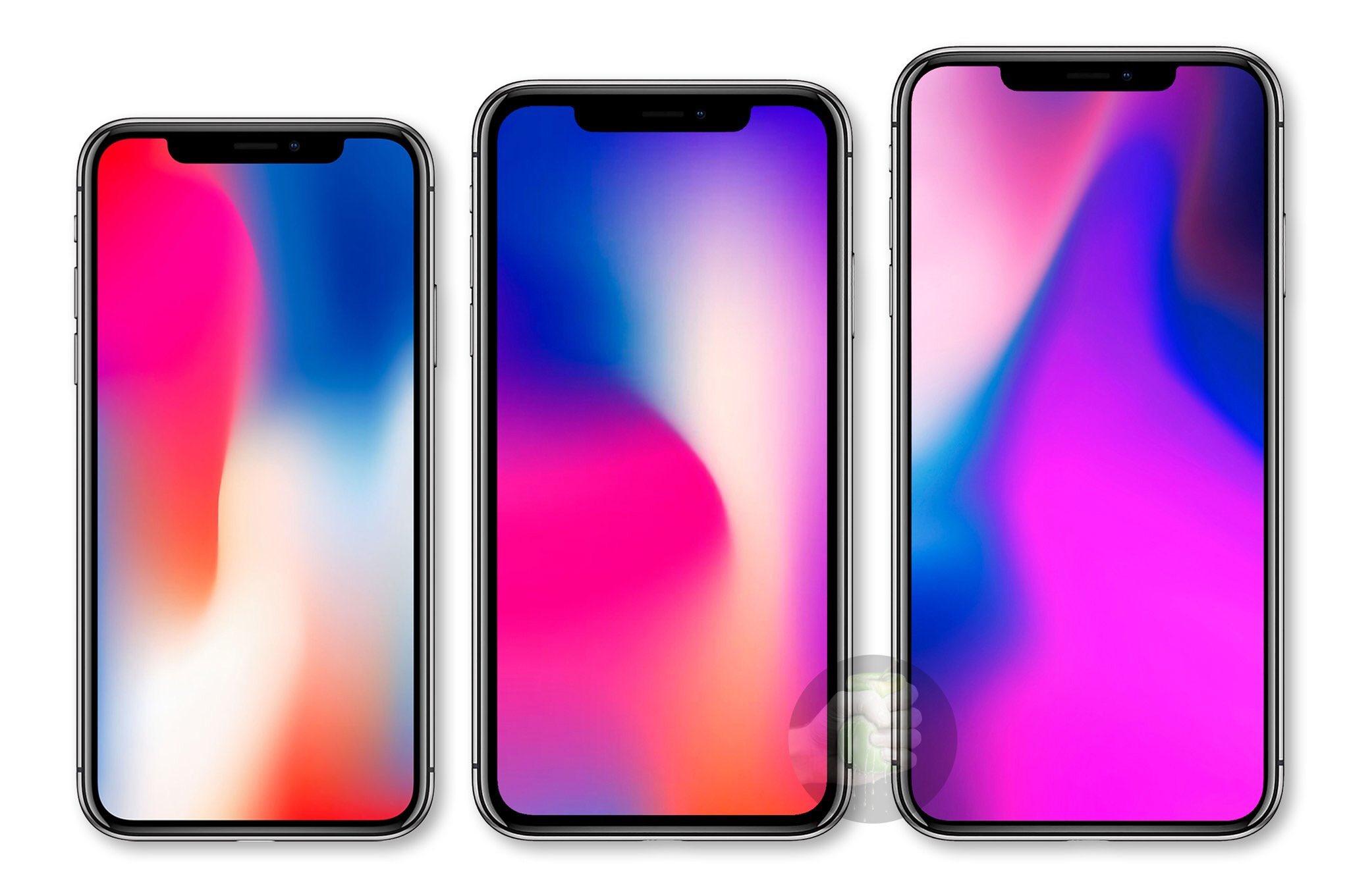 Supuesto aspecto de los tres nuevos modelos de iPhone que Apple podría presentar en el 2018