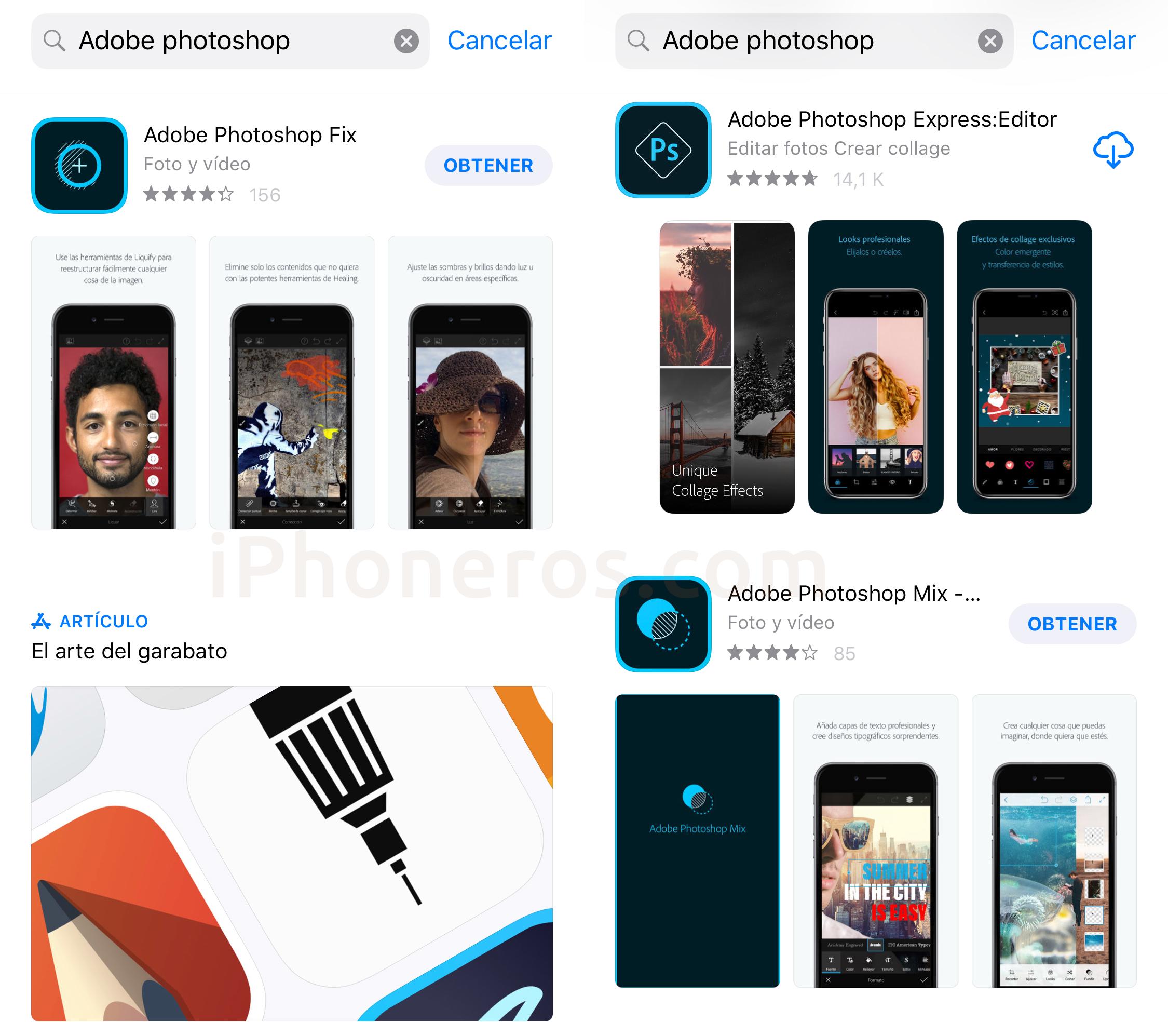 Apps con el nombre de Photoshop en la App Store