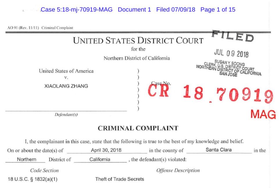 Datos de la detención de Xiaolang Zhang