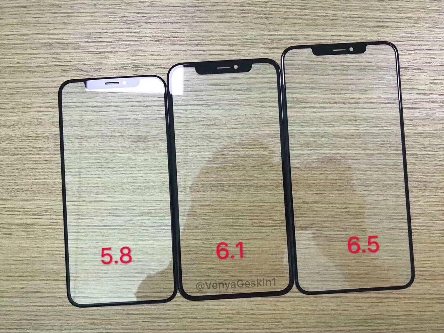Supuestas piezas de cristal para los nuevos modelos de iPhone que Apple podría presentar en el 2018