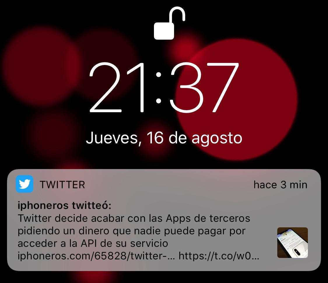 Notificación de iPhoneros en Twitter