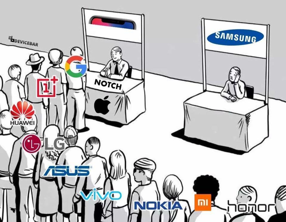 Colas de fabricantes de Android para imitar la solapa de la parte superior de la pantalla de Apple