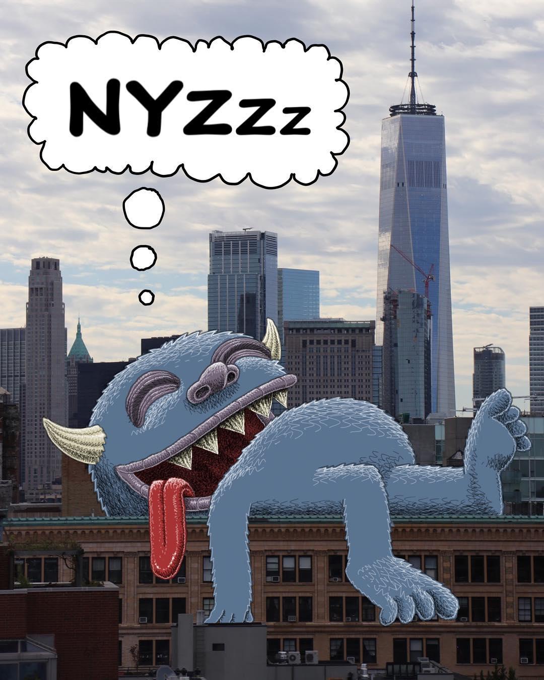 Monstruo pintado sobre Nueva York