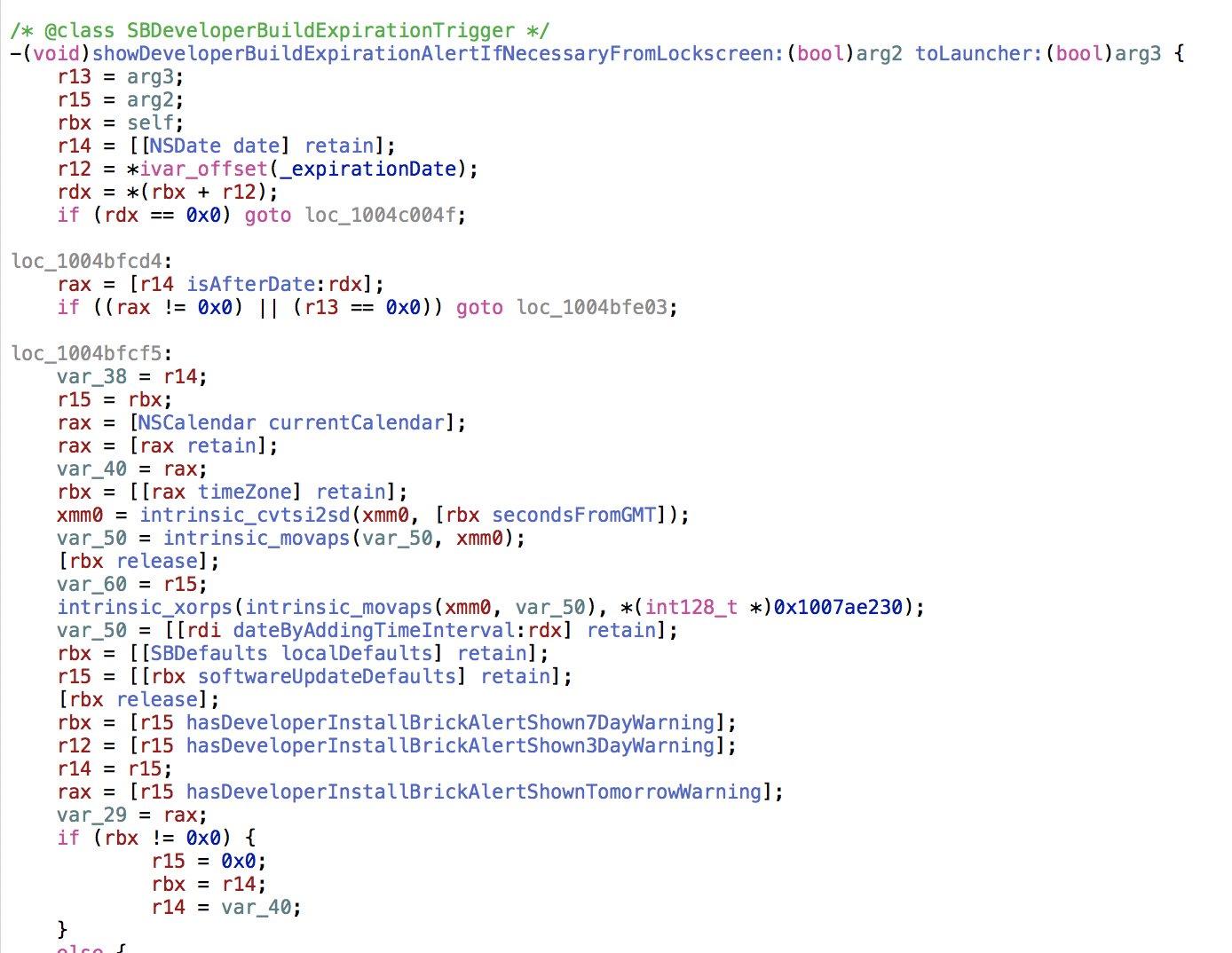 Código que comprueba si ha caducado la beta