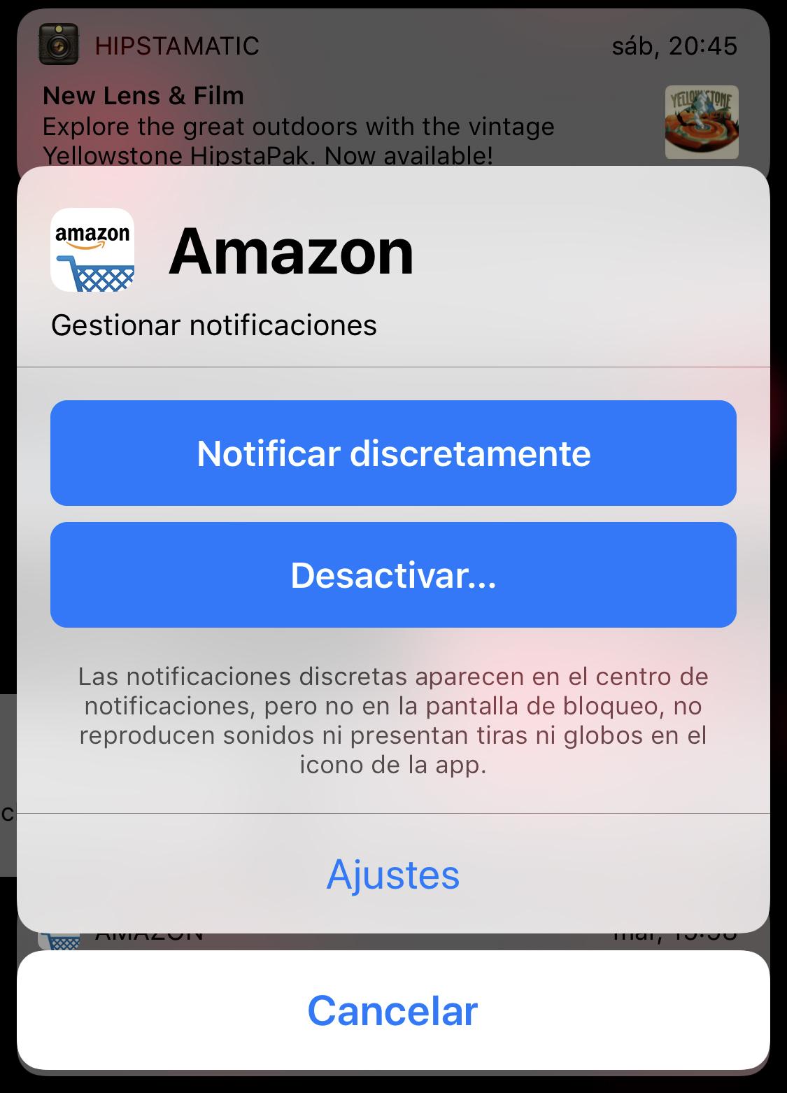 Opciones de gestión de notificaciones
