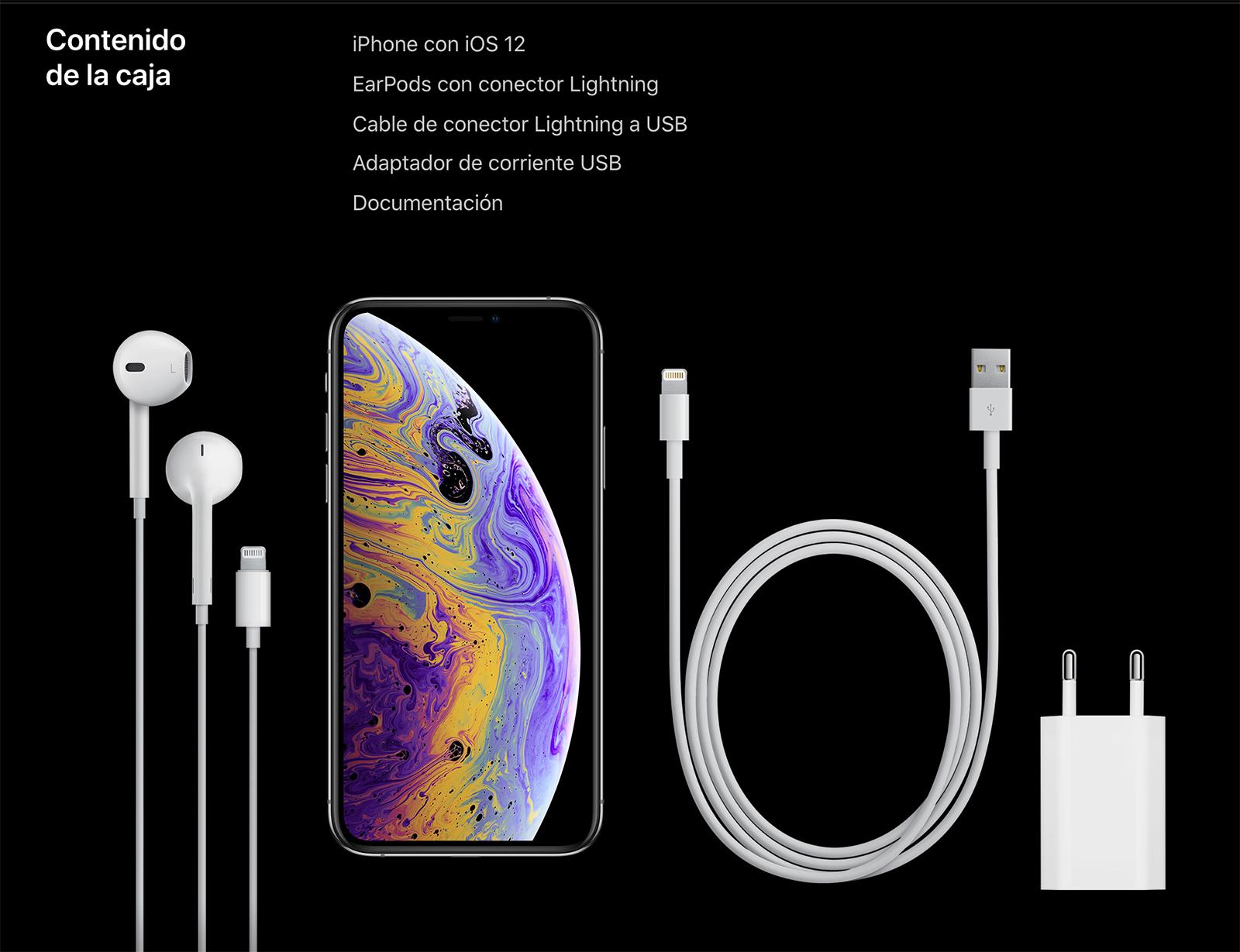 Accesorios que vienen con el iPhone XS y XS Max