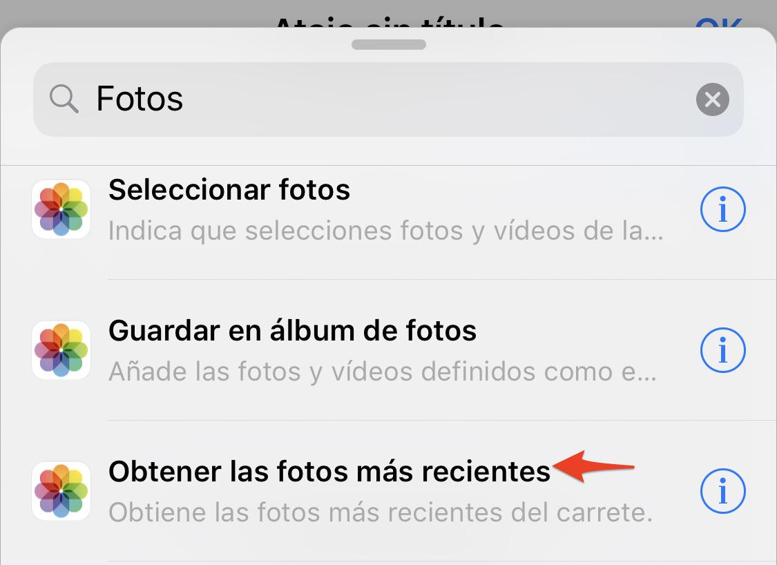 App de Atajos: Fotos más recientes
