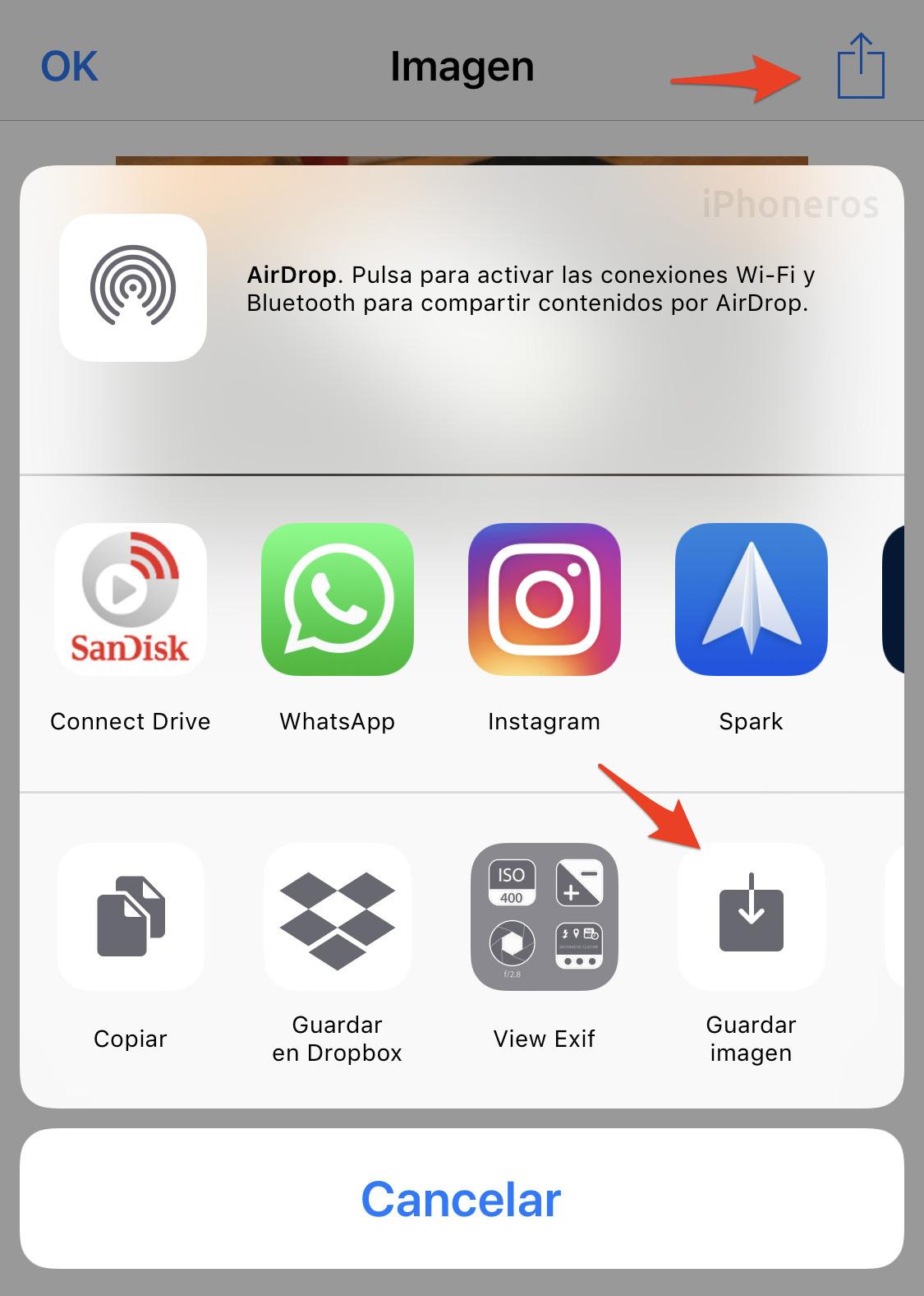 App de Atajos: Guardar el resultado en el carrete