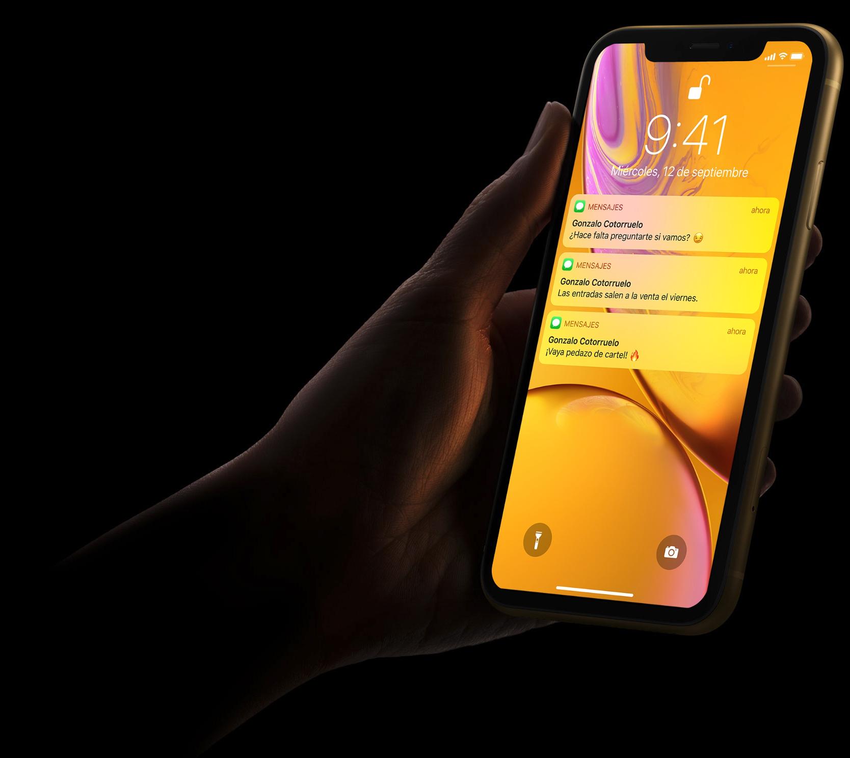 iPhone XR en la oscuridad