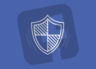 Logo de Facebook con escudo de seguridad