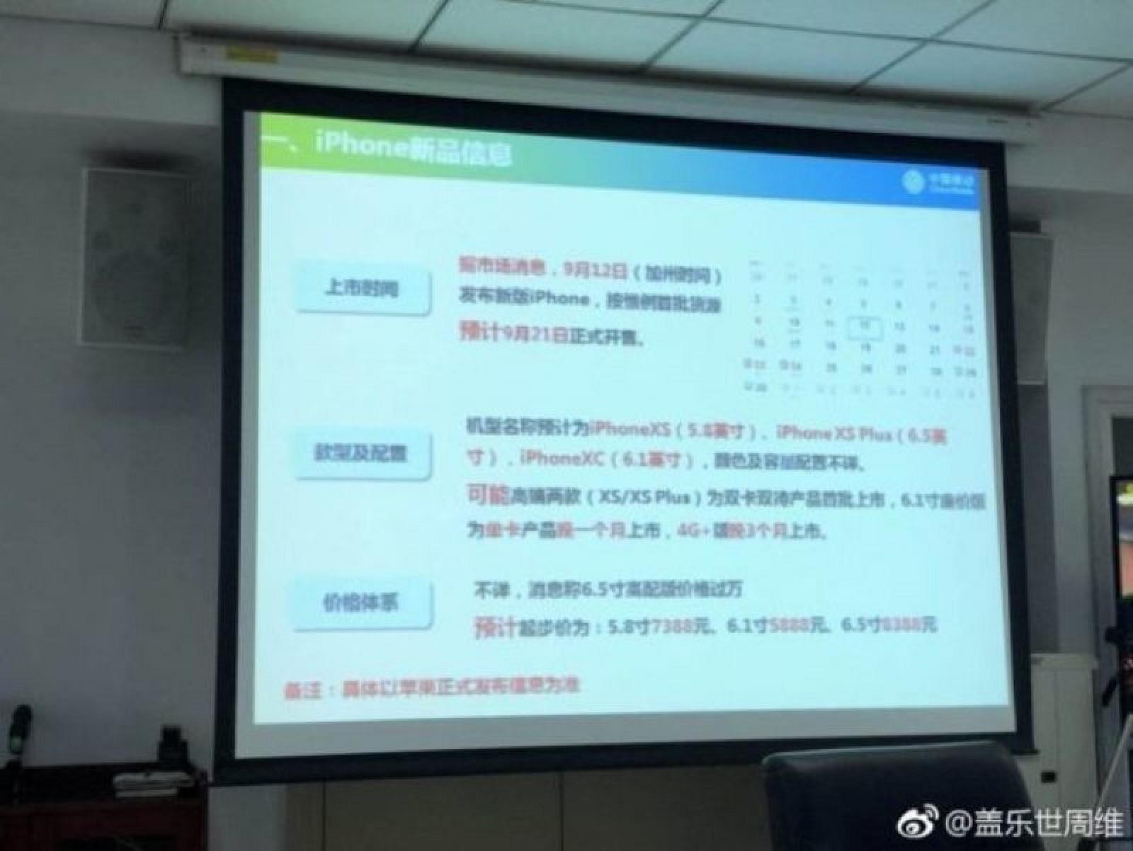Nuevos modelos de iPhone mencionados en una presentación interna de China Mobile