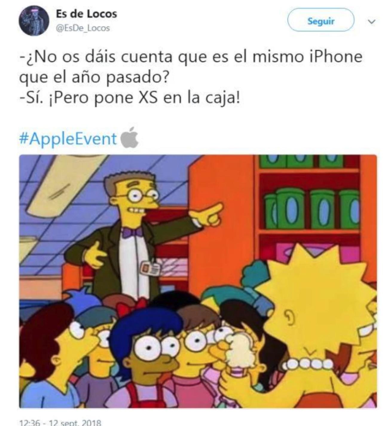 Meme sobre el nombre de los nuevos iPhone XS y XS Max