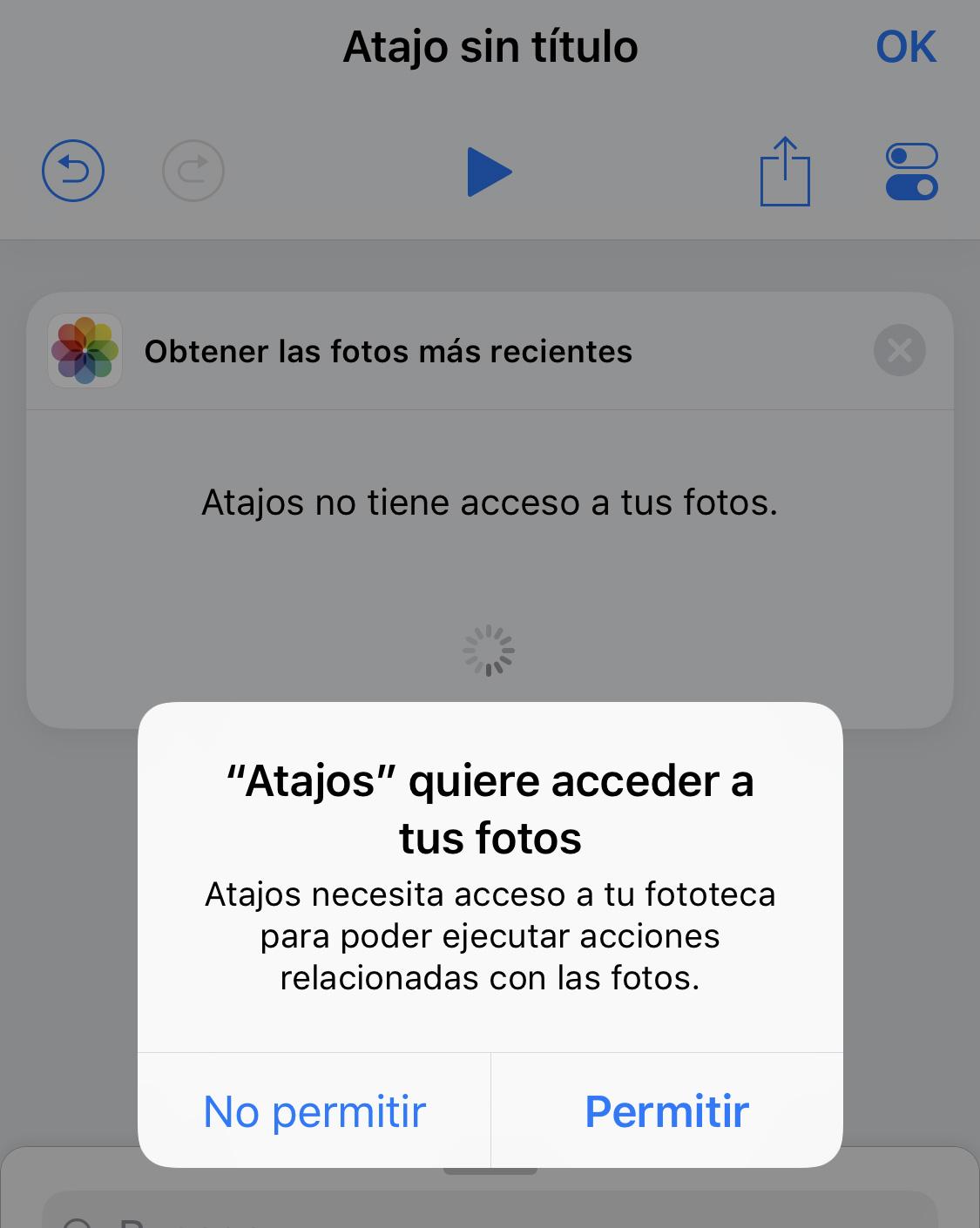 App de Atajos: Permiso para acceder a las fotos del carrete