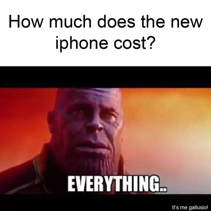 Meme sobre lo caros que son los nuevos iPhones